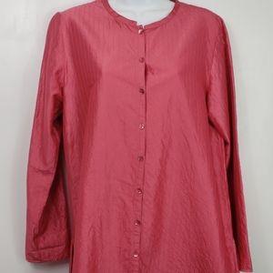 Eileen Fisher 100% silk pink blouse sz S